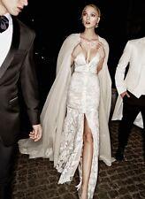 NEW VICTORIA KYRIAKIDES Haute Couture Aria Floral Sequin Lace Slit Gown Dress 8