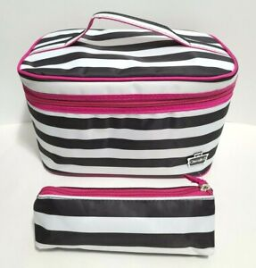 Caboodles Pink & Black White Stripes Travel Makeup Cosmetic Case w/ bag