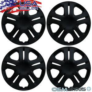 "4 New OEM Matte Black 15"" Hubcaps Fits Toyota TRD Sport Center Wheel Covers Set"