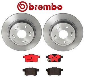 Rear Coated Disc Brake Rotors Ceramic Pads Kit Brembo For Acura TSX Honda Accord