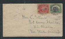 LIBERIA (P0912B) 1896 4C ELEPHANT +1 COVER MONROVIA TO USA