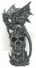 Draco Dragon Standing on a Skull Statue Fantasy Gothic Home Decor ! Sale ! fnt