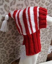 Lovely  Handknitted  dog hat~Red/white ~Whippet,Lurcher &Greyhound