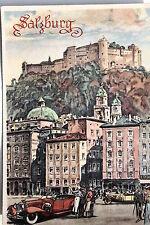 18973 AK Deutsche Städtebilder Salzburg mit Oldtimer und Festung um 1939