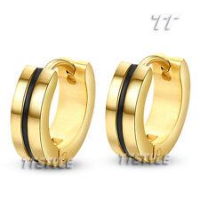 TT 14K Gold GP Stainless Steel Balck Stripe Hoop Earrings A Pair EH18J