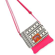 Laurel Burch Fuchsia Black and White Cats Flap Over Crossbody Tote Bag NWT