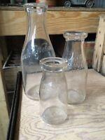 3 Milk Bottles Borden Wieland Dairy Chicago Illinois Bottle Quart Pint Half Pint
