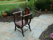Victorian chair--unusual-- mother of pearl inlay-- reupholstered seat