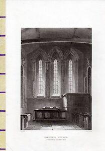 C1815 Antik Klein Georgianisch Aufdruck ~ Barnwell Kirche ~ East End Interior