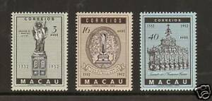 Macao Sc 365-367 MNH. 1952 St. Francis Xavier, cplt set, VF