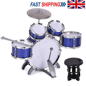 Blue Junior Drum Kit for Kids - 5 Piece Childrens Drum Set with Stool and Sticks