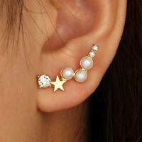 AU_ FT- Women Star Faux Pearl Rhinestone Ear Stud Climber Earrings Jewelry Gift