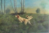 LISTED T. BALILEY 1860-1938 MASSACHUSETTS  HUNTING SCENE  OIL PAINTING ON CANVAS