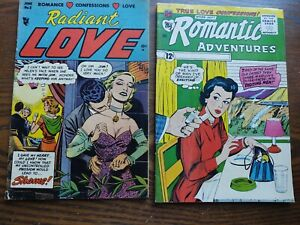 2 Romance Comics Radiant Love #5 1954 VG romantic adv. GD