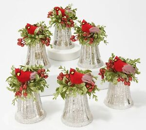 Set of 6 Bell Ornaments w/ Cardinal Accents by Valerie  Silver   BA2