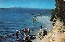 YELLOWSTONE PARK WYOMING FISHING FOR CUTTHROATS ALONG SHORES OF LAKE POSTCARD