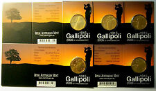 2005 Gallipoli $1 coins x 5 Mintmarks - B, C, G, M & S - Catalogue Value: $80