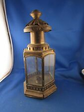 ancienne petite lanterne portative en laiton vitrée hexagonale epoque 1900