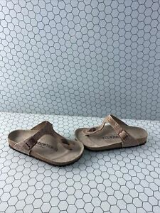 Birkenstock GIZEH Studded Brown Leather Buckled Thong Sandals Women's Size 37 M