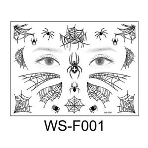 Halloween Temporary Spider Web Tattoo Stickers Waterproof  for Cosplay Supplies