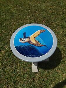 Sea Turtle hand painted handcrafted wooden coastal table handmade furniture