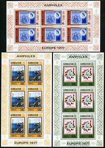 Gibraltar 356-358 sheets,MNH.Michel 364-366 klb. AMPHILEX-1977,CEPT-1977.