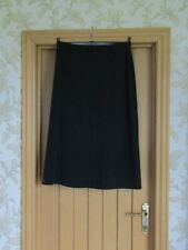 Rowlands smart dark grey wool mix lined calf length panel skirt size 16 vgc