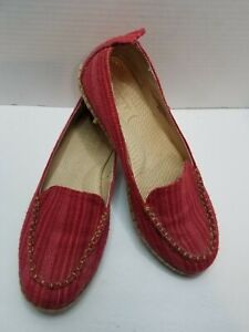 BORN Sitton Espadrille Loafers Moccasin Canvas Red Striped Flats Shoes .Size 9