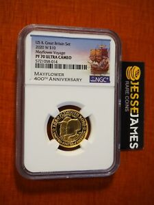 2020 W $10 PROOF GOLD MAYFLOWER VOYAGE NGC PF70 ULTRA CAMEO 1/4 OZ GOLD