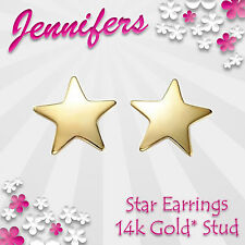 Gold Star Earrings Stud 14ct Pentagram Cute Small Studs Earring Jewellery Jewel