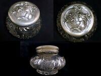 Antique art nouveau cut glass dresser jar vintage woman vanity powder lady
