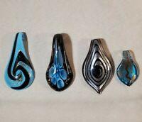 Glass Pendants Hand Blown Murano Style Lot of 4 Blue Black Sparkle Swirls