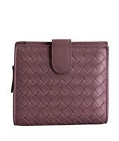 Bottega Veneta Compact Purple Intrecciato Leather Snap Wallet