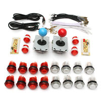 Arcade USB Control DIY Parts Kit Encoder 2 Joystick + 20 LED Illuminated Buttons