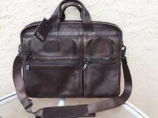 TUMI  96514 ALPHA COLLECTION T-PASS BROWN LEATHER  SLIM BRIEFCASE LAPTOP CASE