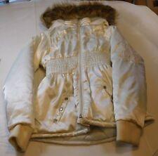 Bongo Girls Puffy Hooded Jacket Coat Size 14/16 youth off white fleece lined NWT