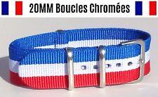 ★ NATO ★ 20MM ★ N°72 ★ Bracelet montre Watch Strap Nylon France bleu blanc rouge