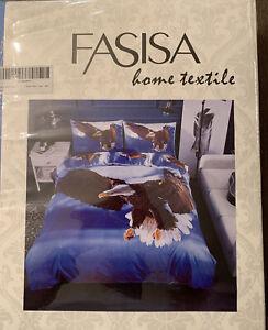 Fasisa Home Textile 3pc. Twin Duvet Bedding Set with Eagle Print Blue/Brown/Wht