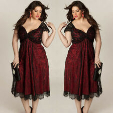 Women Plus Size Sleeveless Lace Formal Dress V-neck Long Evening Party Prom Gown Red 3xl