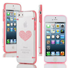 For Apple iPhone 5 5s 6 6s 7 Plus Clear Hard TPU Case Leopard Print Love Heart