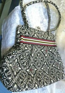 Vera Bradley Black White Print Cloth Fabric Cotton Purse Handbag
