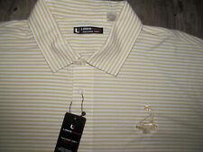 New Pinehurst Putter Boy Resort Linkstech Gold White Stripe Golf Polo Shirt-Xl
