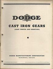 MRO Catalog - Dodge - Cast Iron Gears - Tooth Mortise c1940's Brochure (MR171)