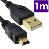 GOLD USB 2.0 Hi-Speed A to mini-B 5 pin Cable Power & Data Lead  1m