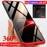 For Oneplus 6T Shockproof 360° Full Protection Hybrid Case Cover+Tempered Glass