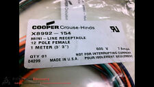 COOPER CROUSE-HINDS X8992-154, 12 POLE, FEMALE, 1 METER, NEW #203037