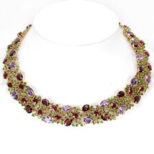 GENUINE AAA GARNET AMETHYST RUBY CHROME DIOPSIDE STERLING 925 SILVER NECKLACE 15