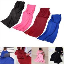 Sleeved Cuddle Blanket Throw Snuggle Wearable Soft Snuggie TV Fleece Pocket AU