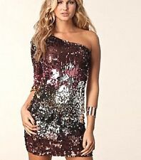 NWT bebe multi sequin sparkling one shoulder sexy clubbing top dress XS 0 2 hot