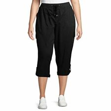 NWT Women's Plus Size Cargo Capri with Taping (Black, 5X) FREE SHIPPING